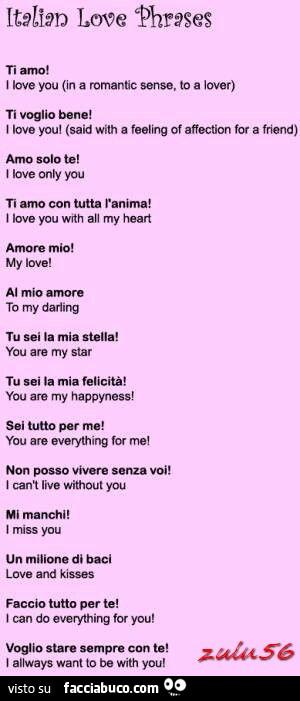 Italian Love Phrases Frasi D Amore In Italiano Con Traduzione